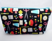 Makeup Cosmetic Bag, Sewing Supply Print w/Zipper