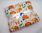 Baby Blanket, Origami Safari Animals with Minky