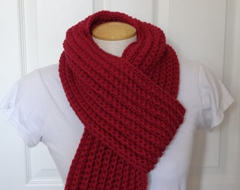 Crochet Chunky and Long Ribbed Scarf in Red - Ready to Ship
