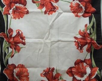 Vintage Red Daffodil Hankie