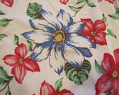 2 1950's Floral Curtains, 1950's, Curtians, Floral, Flower, Kitchen, Bedroom, Cotton, Lined, Blue, Red, White, White, Curtain Panel