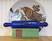 Victorian Bristol Blue Rolling Pin, Rolling Pin, Glass, Blue, Bristol Blue Style, Antique, Victorian, Art Glass, Hand Blown, Cobalt Blue