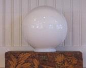 Vintage White Glass Globe, Globe, White, 1950's, Round, Restoration, 7 3/4 Diameter, Milk Glass, Modern, Art Deco, Glass, Shade