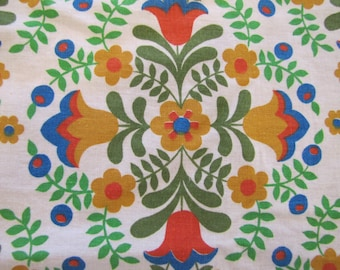 1970's Folk Floral Fabric, Folk, Floral, Flower, 1960's, 1970's, Quilter Weight, Colorful, Dutch, Cotton, Tulip, Hippie, Boho
