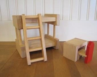 Vintage Modern Birch Dollhouse Bedroom Set, Bedroom Set, Creative Playthings Style, Bunkbed, Desk, Dollhouse, Furniture, Miniature, MCM, Bed