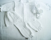 Christening set. Knitted Sweater, Pants, Hat and  Booties Set. White set.