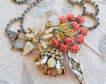 Vintage Rhinestone Enamel Flower Celluloid Rose Brooch Necklace