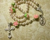 Girls/Ladies Floral Rose Traditional Five Decade Rosary