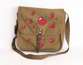 Vintage Upcycled Military Bag with Hand Painted Apples, Green Cotton Canvas Messenger Bag, Nature Inspired Accessories