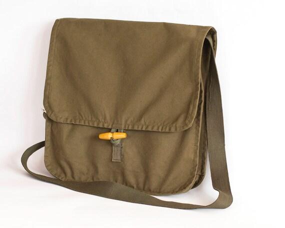 Vintage Army Bag, Military Shoulder Bag, Green Canvas Messenger Bag, School Bag, Crossbody Bag, Travel Bag