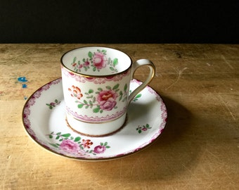 Vintage Staffordshire Teacup and Saucer, Crown Staffordshire England, Fine China, Demitasse Tea Cup, Vintage Teacup, Shabby Pink China
