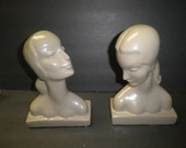 2 Art Deco Lady Head Bust Statues Book Ends Chalk Plaster
