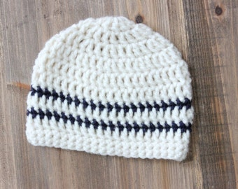 Oatmeal and navy striped baby boy hat, toddler boy hat, crochet baby hat