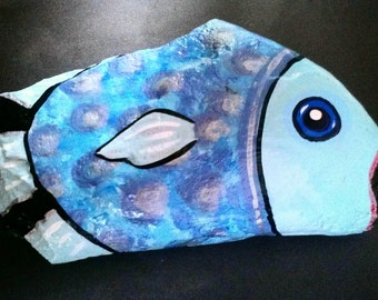 Hand Painted Garden Rock- Singing Blue Fish