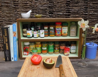 Spice Rack- Rustic Medium Free Standing Spice Rack With Backing Made from Reclaimed Materials