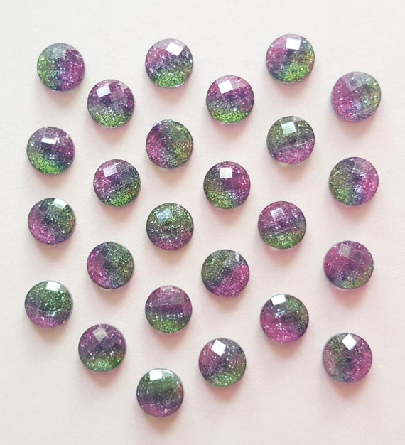 25 8mm purple blue and green glitter mix rhinestone. Black Bedroom Furniture Sets. Home Design Ideas