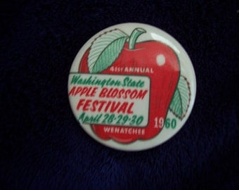 1960 Apple Blossom Button or Pin