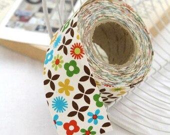 3.5 cm Cotton Bias - Baby Blossom in Yellow Green - 10 Yards - By the Roll - 89181
