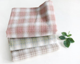 Plaids Cotton Fabric - Pink, Green or Brown - By the Yard 68263