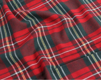 "Red Green Plaid Cotton Fabric - 59"" Wide - By the Yard 84174"