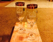 1980s Galway Irish Hand-cut Crystal Claddagh Goblets (new, boxed set of 2)