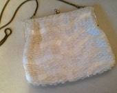 1960s Made in Hong Kong White Beaded Evening Wedding Bridal Clutch