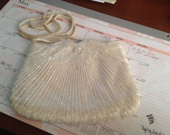1960s Made in China White Beaded Shoulder Evening Wedding Bag