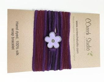 Purple and Maroon Silk Wrap Bracelet with Light Purple Enamel Flower Button