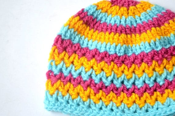 baby hat pattern, crochet hat pattern, crochet beanie, V-stitch beanie ...