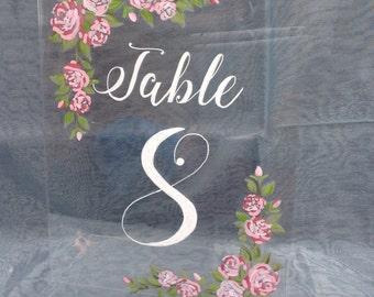Perspex table numbers for weddings
