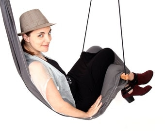 Special Patent Hanging Chair Hammock Swing for Indoor or Outdoor,Patio Lounge and Porch. Color Grey Hang Basic Model SALE 129 instead of 139