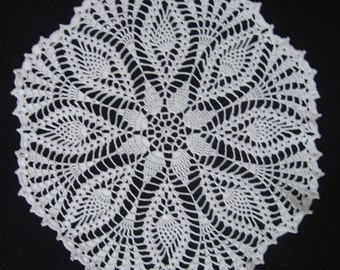 """6687 New Crochet, Pineapples and Fans Doily, 13"""""""