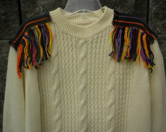 Eclectic Upcycled Sweater Off White Cable Knit Jumper with Fringe Epaulettes