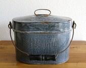 Vintage Enamel Pail/Bucket with Wood Handle