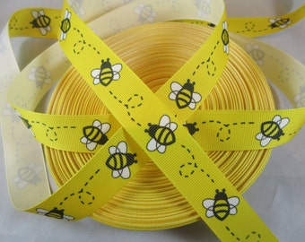 Bee cute Grosgrain Ribbon, 7/8 inch Ribbon by the yard, RN17032