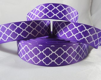 Purple pattern ribbon, 7/8 inch Ribbon by the yard, craft supplies, wholesale grosgrain ribbon, RN14803