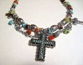Shop Closing, Boot , High top Shoe Jewelry, ankle boot, turquoise cross, silver cross, chain jewelry, turquoise rocks, red coral