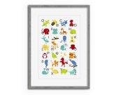 Alphabet Animals Nursery Art Poster - toddler gift, nursery decor, baby gift, bright, colorful art, children, kids gift, letters, boy, girl