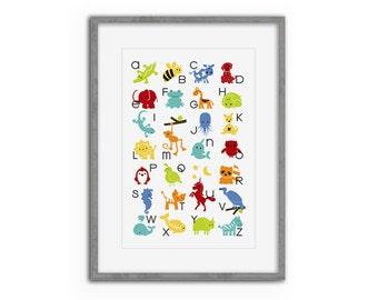 Alphabet Animals Nursery Art Poster - nursery alphabet, toddler gift, nursery decor, bright, colorful art, children, kids gift, boy, girl