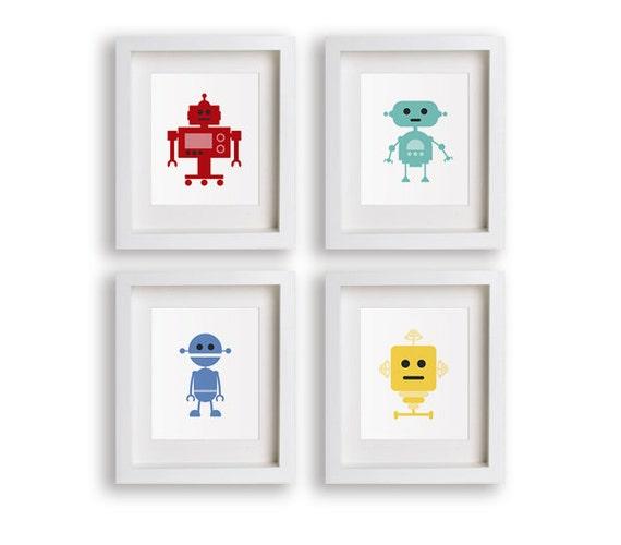 Robot nursery art set of 4 nursery decor robots by nikoandlily for Robot baby room decor