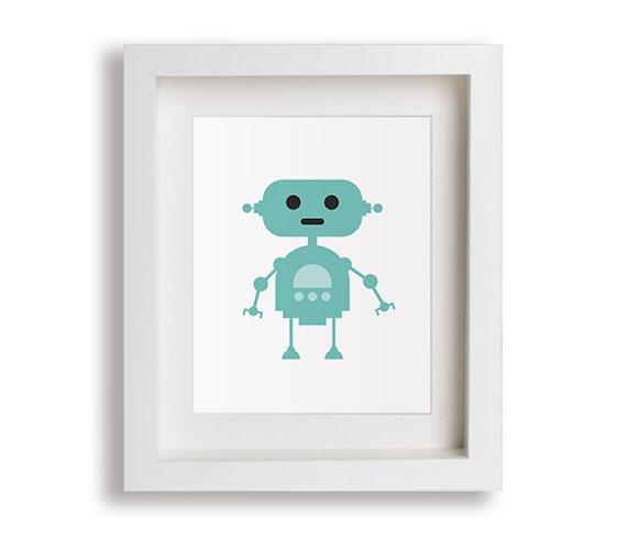 New robot nursery art print v2 baby gift robots by nikoandlily for Robot baby room decor