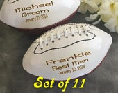 HUGE SALE Set of 11 Personalized  Football, Ring Bearer Gift, Groomsmen Gift, Best Man Gift, Wedding Gift,