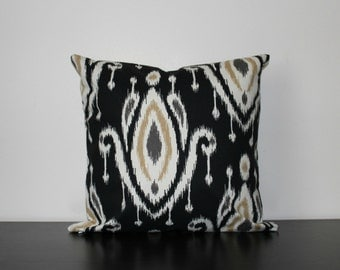 Decorative Throw Pillow, Ikat Pillow Cover, Black Pillow Cover, Toss Pillow, Sofa Pillow, Throw Pillow, Accent Pillow, Bedroom Pillow