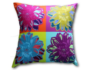 Floral Pillow, Accent Pillow, Handmade decorative throw pillow, unique and colorful, 18x18