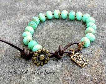 Hand Knotted Czech Glass Bracelet - Sea Green