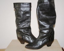 37EU/6.5US Vintage Boots/Dark Brown Boots/1980s Boots/Slouch Boots/Leather Boots/Cuff Boots/1980s Style