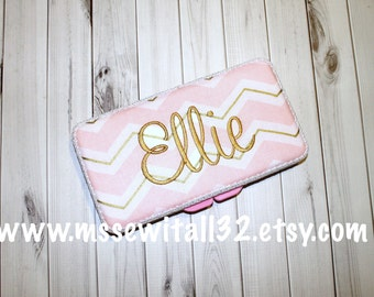 Custom Pink and Gold Chevron Diaper Wipes Case