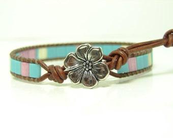 Turquoise & Dusty Pink Tila Beaded Leather Wrap Bracelet, Flower, Single Wrap, Boho Jewelry