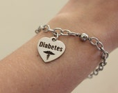 Diabetic charm bracelet with magnetic closure,  silver medical alert bracelet for diabetes, stainless steel