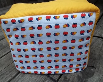 Tomatoes Toaster Cover Hearts Vintage Yellow White Orange Green Quilted